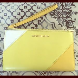 Michael Kors leather yellow wallet wristlet